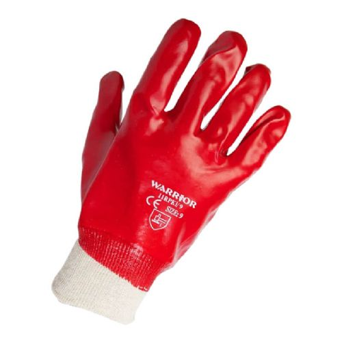 Warrior Red PVC Knit Wrist Gloves - 120 Pairs